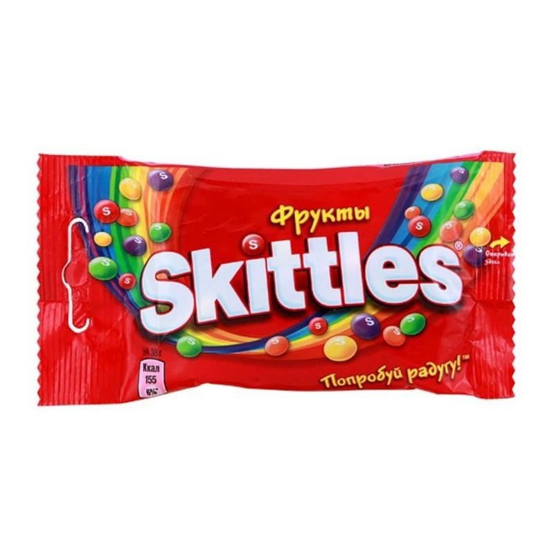 Драже Skittles Фрукты, 38г skittles фрукты драже в сахарной глазури 12 пачек по 38 г