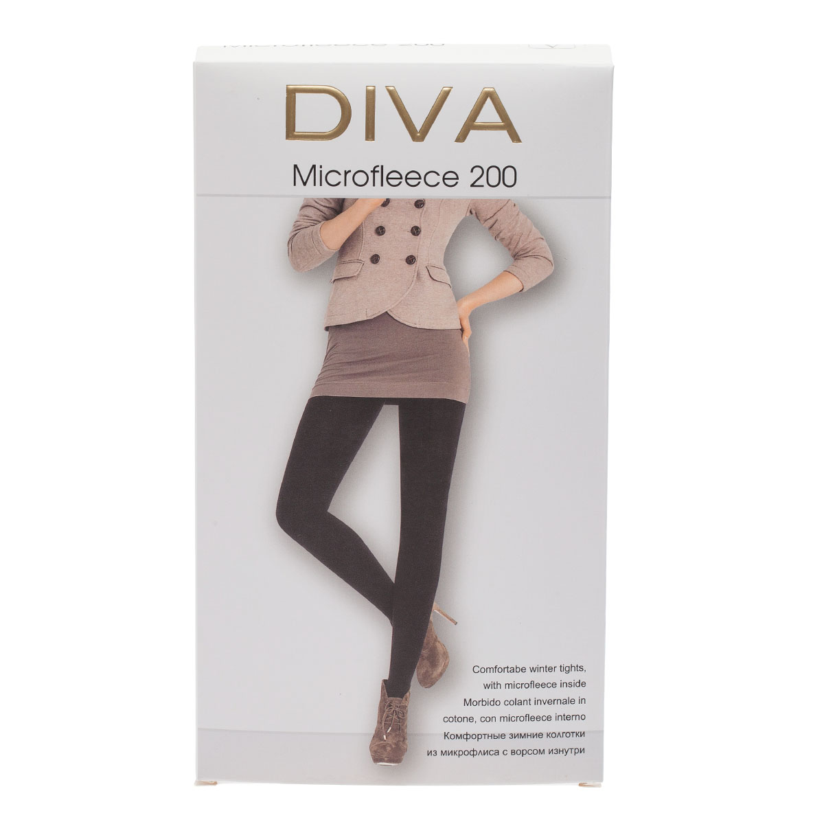 Колготки DIVA Microfleece 200, 5 бусы art silver цвет черный смц70 5 1132